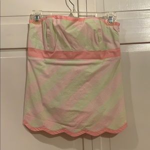 Lilly Pulitzer, pink and green, tube top, size 0.